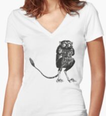 Say Cheese! | Tarsier with Vintage Camera Women's Fitted V-Neck T-Shirt