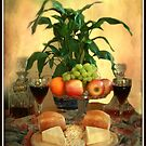 Still life with wine and Fruit. by Irene  Burdell