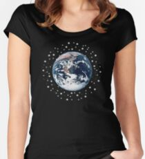 The Earth set amid innumerable stars Women's Fitted Scoop T-Shirt