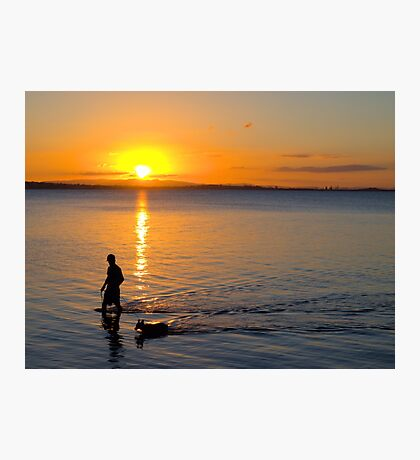 Wading in the Sunset Photographic Print