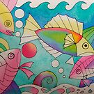 Fishies 2 watercolour by Karin Zeller