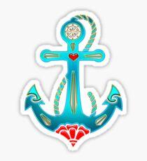Anchor & Sacred Rose, Symbol Hope, Faith & Love Sticker