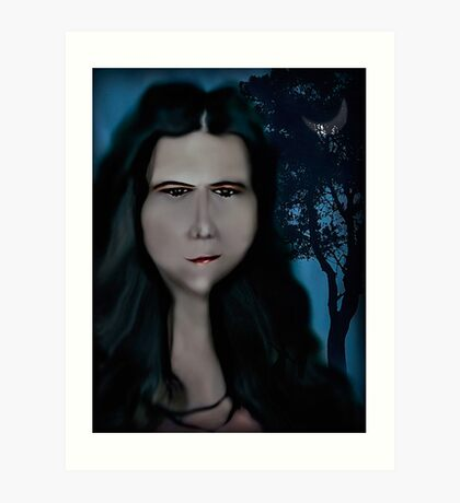 Mysterious Girl With A Long Neck. Art Print