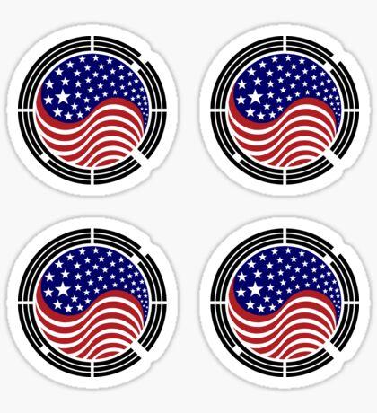 Korean American Multinational Patriot Flag Series Glossy Sticker