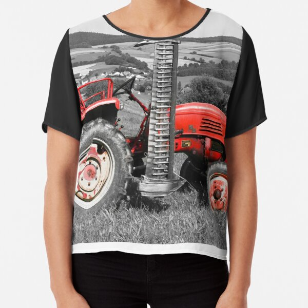 Red old tractor Chiffon Top