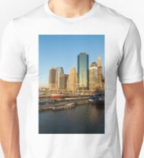 Early Morning Harbor - Lower Manhattan Skyline and South Street Seaport Historic Ships Unisex T-Shirt