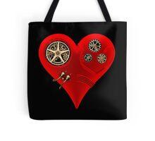 Steampunk Red Clockwork Heart Tote Bag