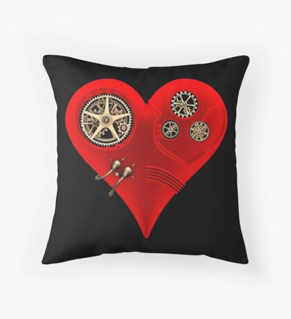 Steampunk Red Clockwork Heart Throw Pillow