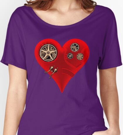 Steampunk Red Clockwork Heart Women's Relaxed Fit T-Shirt