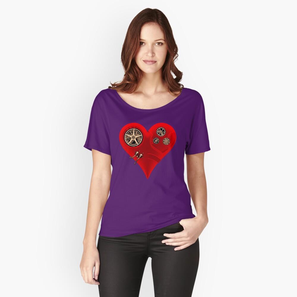 Steampunk Red Clockwork Heart Relaxed Fit T-Shirt
