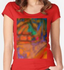 Colorful Abstract Art Laptop Skin Women's Fitted Scoop T-Shirt