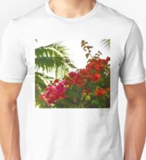 Tropical Impressions - Bougainvilleas and Palm Fronds in the Sky T-Shirt
