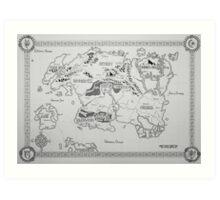 Elder Scrolls map in ink Art Print