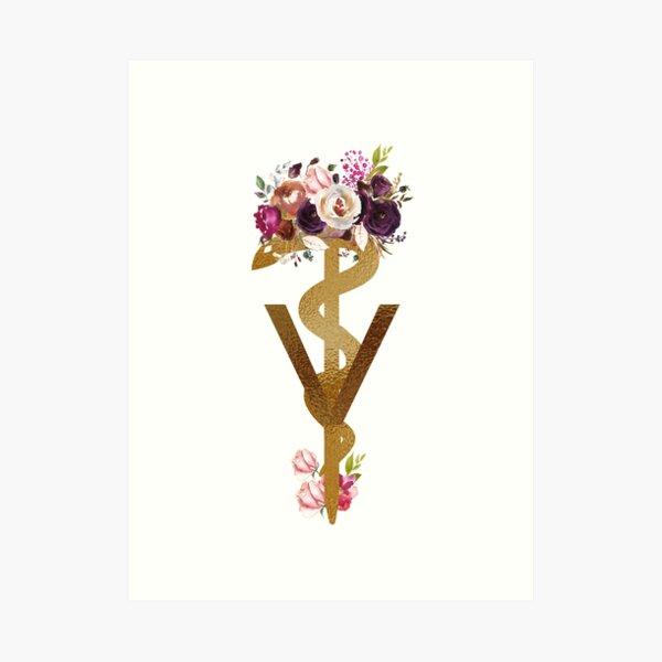 Doctor of Veterinary Medicine  Graduation DVM Gift,  Floral Caduceus Medical Symbol with Flowers Art Print