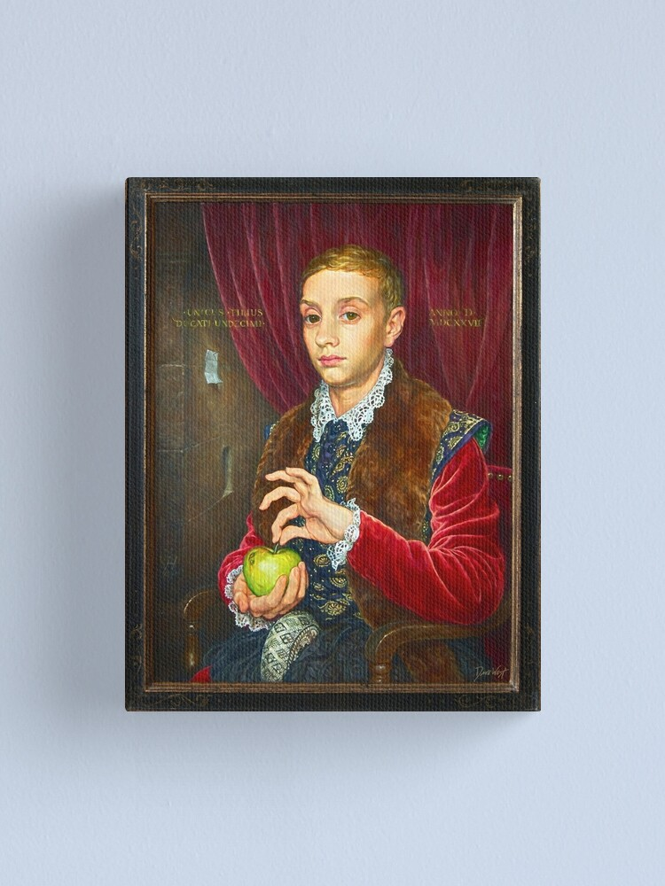 Alternate view of Boy With Apple Painting with painted frame Canvas Print