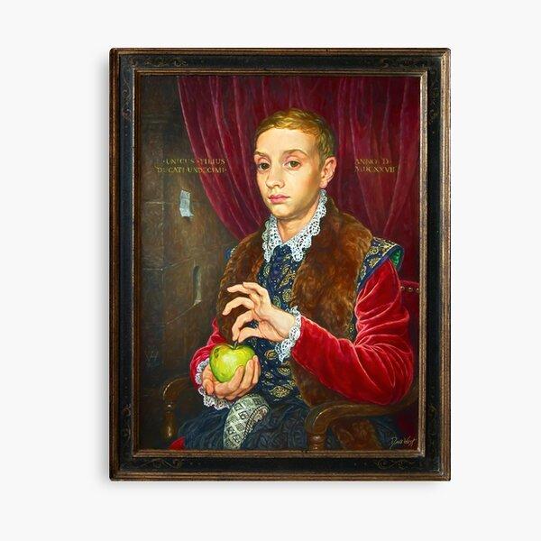 Garçon à la peinture Apple avec cadre peint Impression sur toile