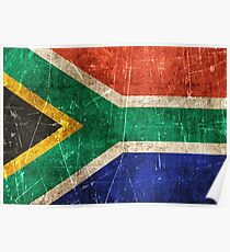 Vintage Aged and Scratched South African Flag Poster