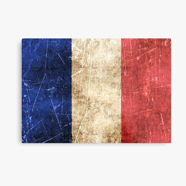 Vintage Aged and Scratched French Flag Metal Print
