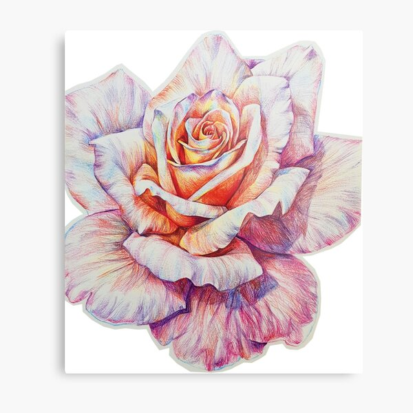 Flower drawing with colored ballpoint pens! Metal Print
