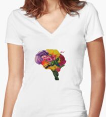 Floral Brain Women's Fitted V-Neck T-Shirt