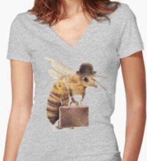 Arbeitsbiene Tailliertes T-Shirt mit V-Ausschnitt