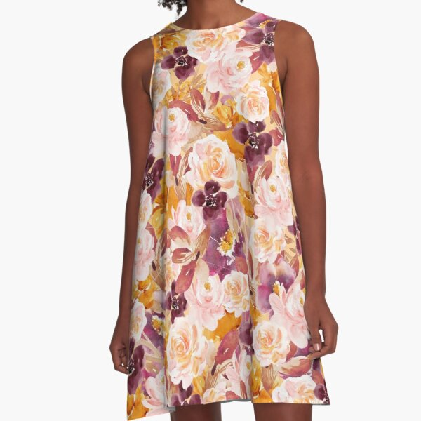 Blumen Garten Muster A-Linien Kleid