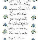 Go Confidently Thoreau quote pastel daisies by Melissa Renee
