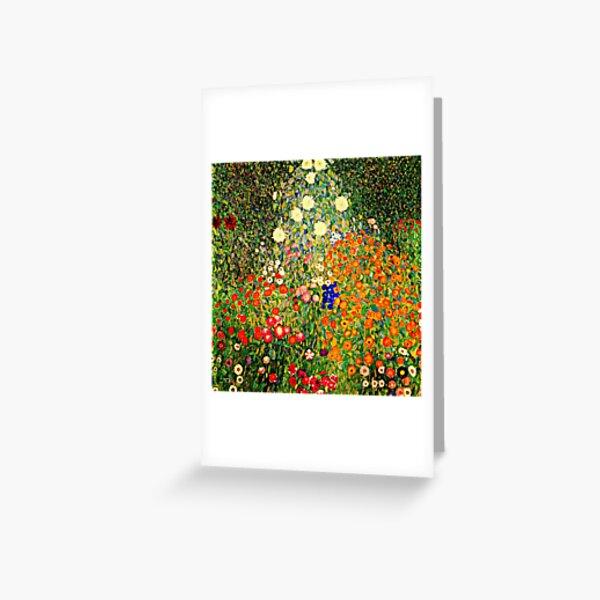 Jardin de fleurs, célèbre tableau de Gustav Klimt Carte de vœux