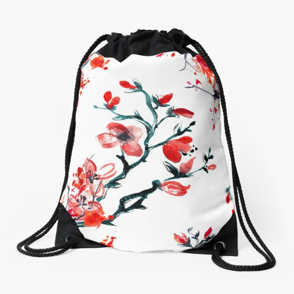 Red cherry blossom Drawstring Bag