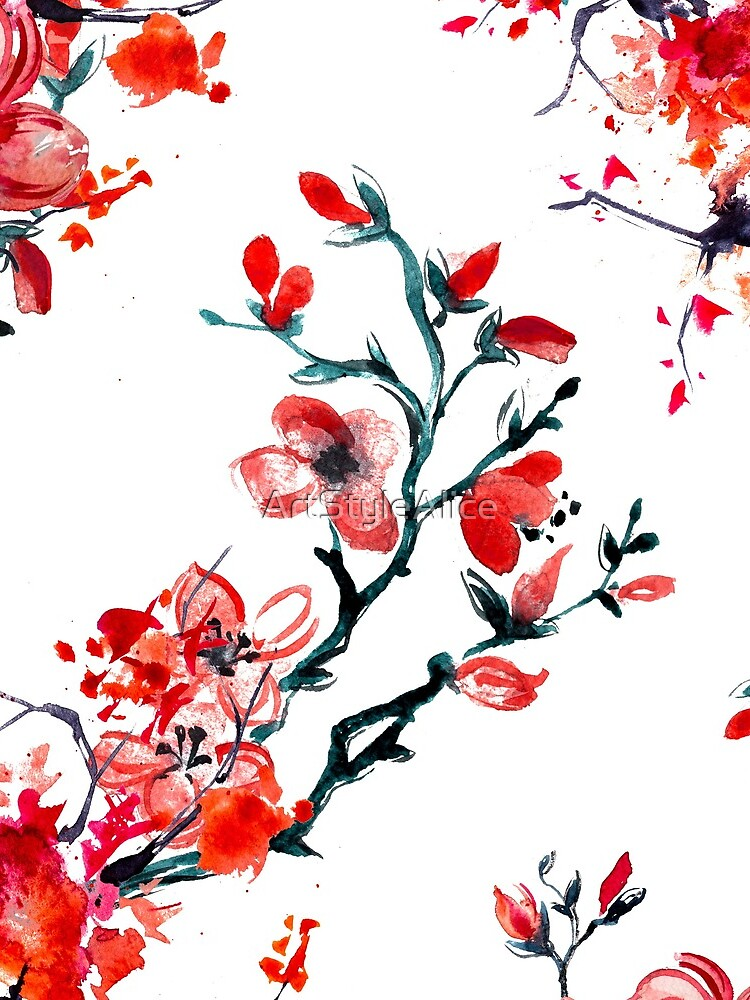 Red cherry blossom by ArtStyleAlice