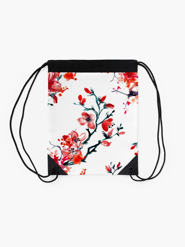 Alternate view of Red cherry blossom Drawstring Bag