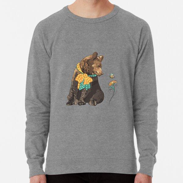 Cartoon hipster bear  Lightweight Sweatshirt