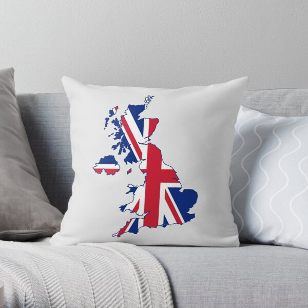 Flag Map of the United Kingdom  Throw Pillow