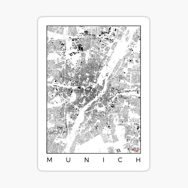 Munich Map Schwarzplan Only Buildings Urban Plan Sticker