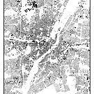 München Karte Schwarzplan Nur Gebäude Stadtplan von HubertRoguski