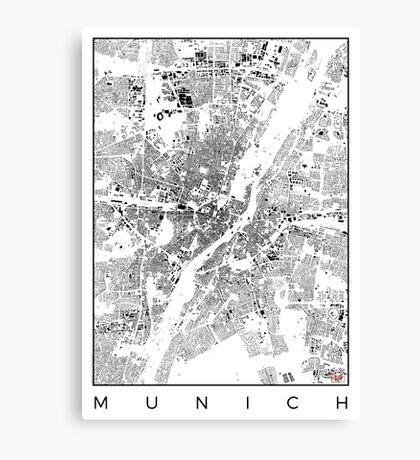 Munich Map Schwarzplan Only Buildings Urban Plan Canvas Print