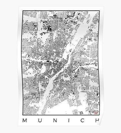 Munich Map Schwarzplan Only Buildings Urban Plan Poster