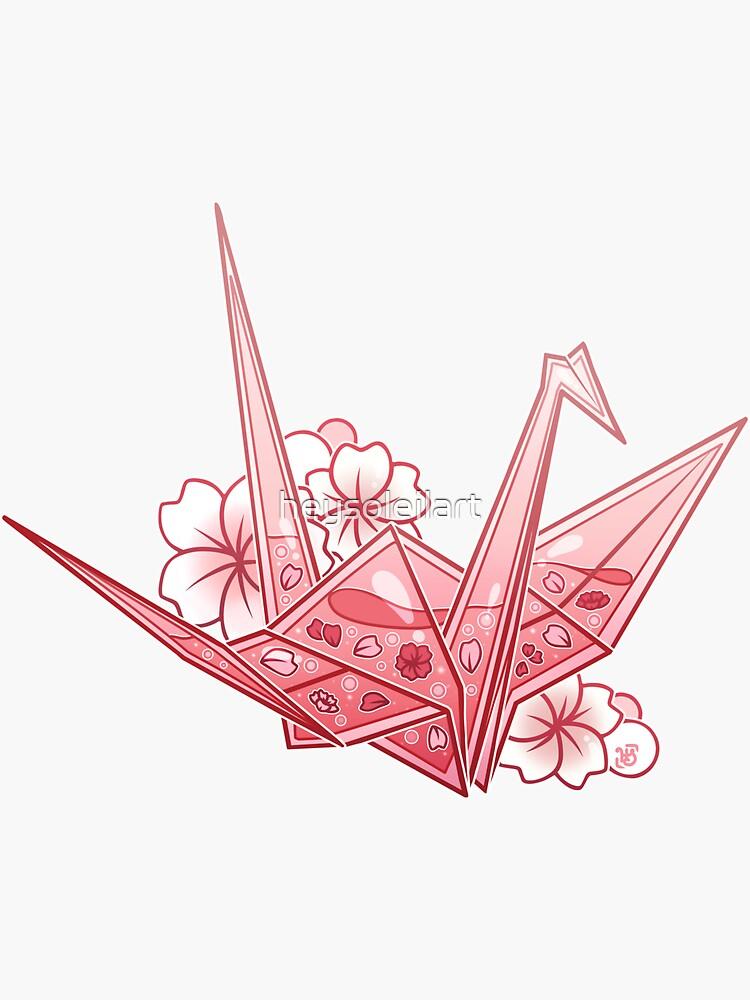 Glass Sakura Origami Crane by heysoleilart