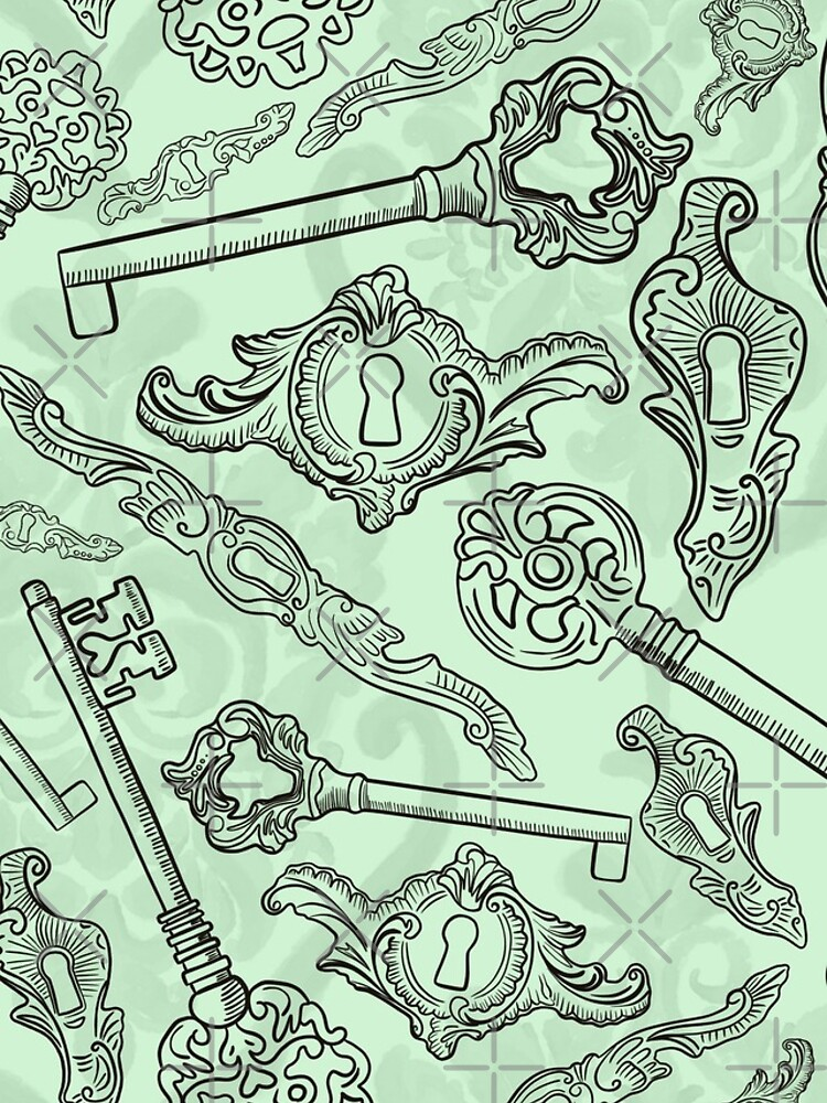 Rococo locks and keys pattern design by nobelbunt
