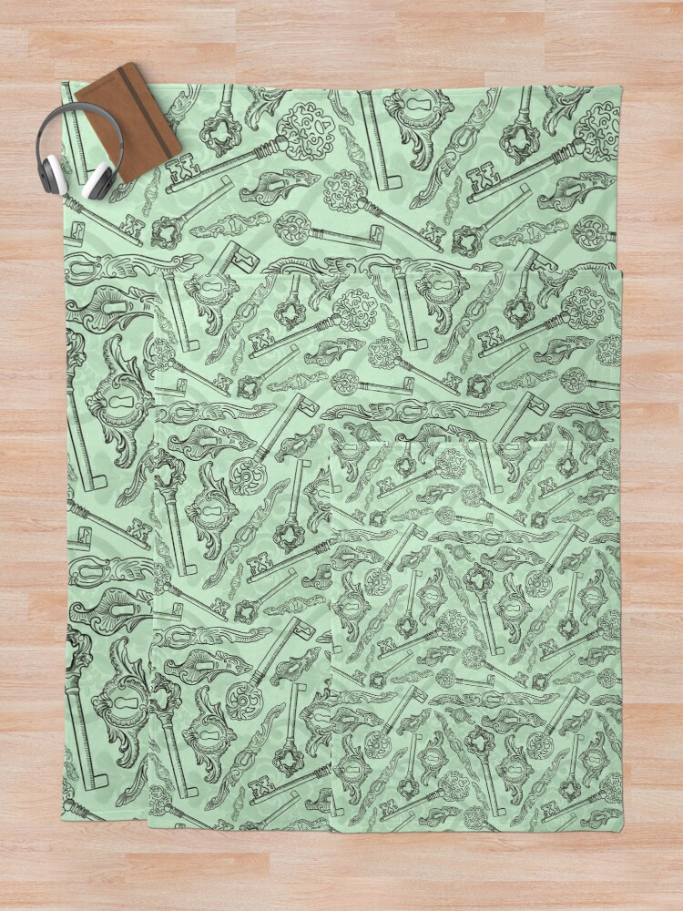 Alternate view of Rococo locks and keys pattern design Throw Blanket