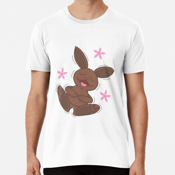 Cute Freefalling Chocolate Easter Bunny With Pink Flowers Cartoon Premium T-Shirt