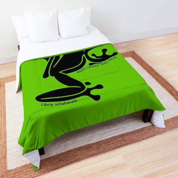 Tree Frog. Iconic Australian Animal. Silhouette with name. Comforter