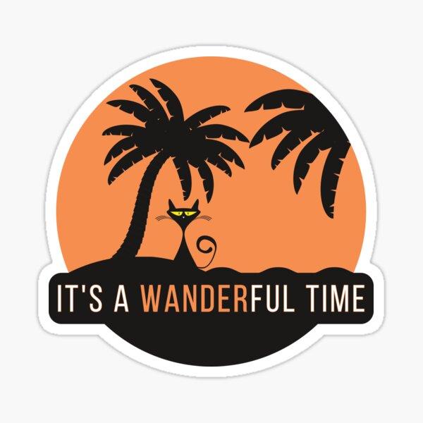 Wanderful Time - Schwarze Katze auf der Insel Sticker