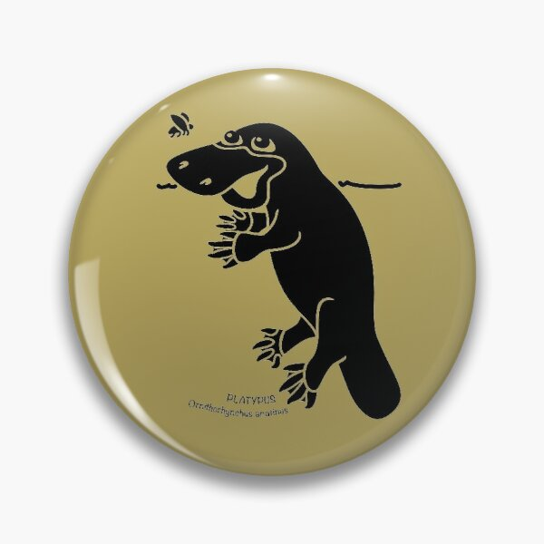 Platypus. Iconic Australian Animal. Silhouette with name. Pin