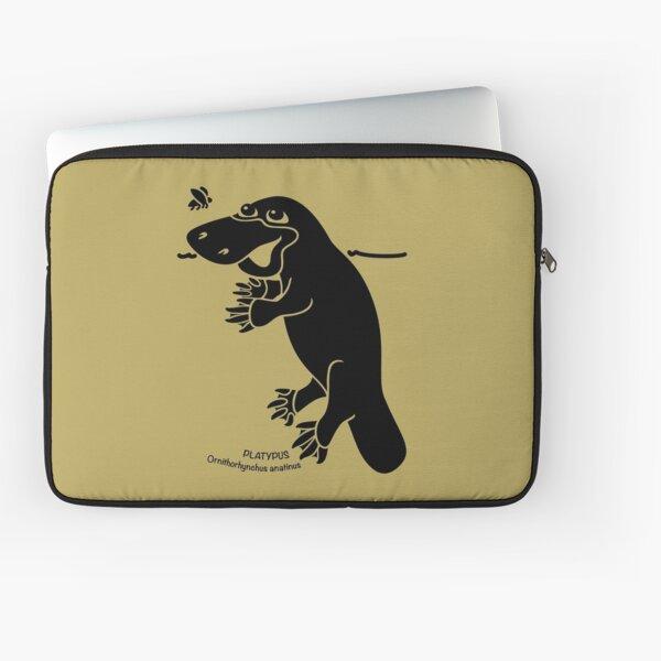 Platypus. Iconic Australian Animal. Silhouette with name. Laptop Sleeve