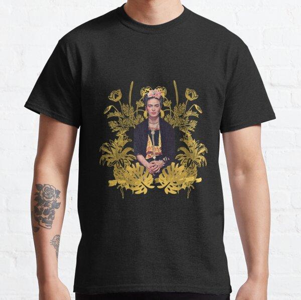 Retrato Frida Kahlo color, flores doradas, fonde negro Camiseta clásica