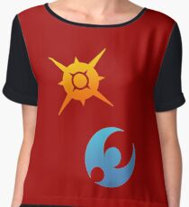 Pokemon Sun and Moon Symbols Women's Chiffon Top