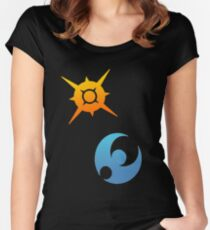 Pokemon Sun and Moon Symbols Women's Fitted Scoop T-Shirt