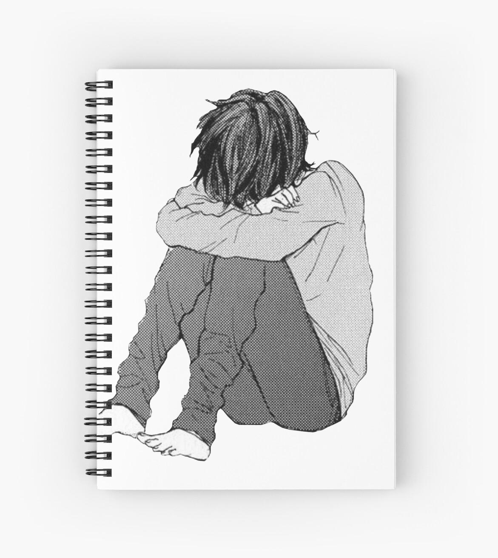 Sad Boy Spiral Notebooks By Roojub Redbubble