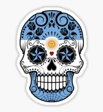 Sugar Skull with Roses and Flag of Argentina Sticker